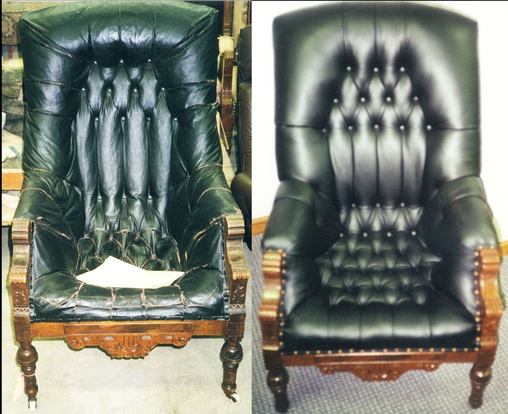 pleated leather chair